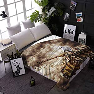 Bed Blankets Military Custom Blanket for Couch Bed Sofa German Tank in Action with Dark Storm Clouds Dangerous Weapon Concept of Battle 50 x 60 Inches Brown Dust