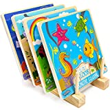 Lift & Look Bundle: Fishing, Bug Catcher, Dino Catcher, and Space Adventure Magnet Games with Wood Display Stand