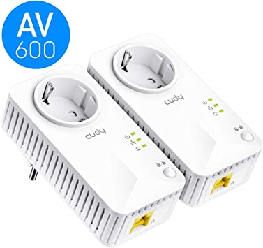 Cudy PL600P Kit 600Mbps Passthrough Powerline Kit, AV600 PLC Ethernet, 2 Paquetes, 1 Puerto Ethernet, Plug and Play, PC, Smart TV, Compatible con la mayoría de los adaptadores Powerline: Amazon.es: Electrónica