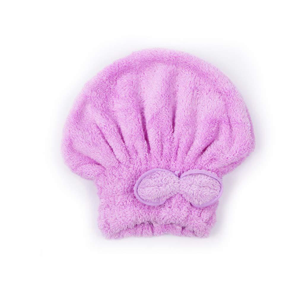Rocita Bain Hat Vite Cheveux Secs Cap Super Absorbant Microfibre Douche Hat Noeud 1Piece Sécher Les Cheveux Violet.
