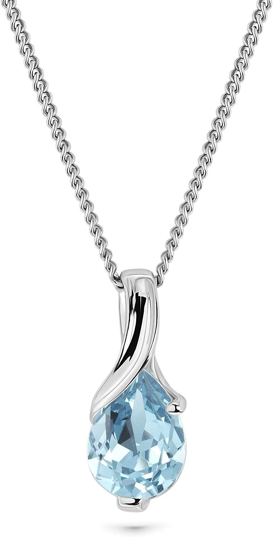 Miore Collar de Oro Blanco de 9K (375) con Aguamarina para Mujer