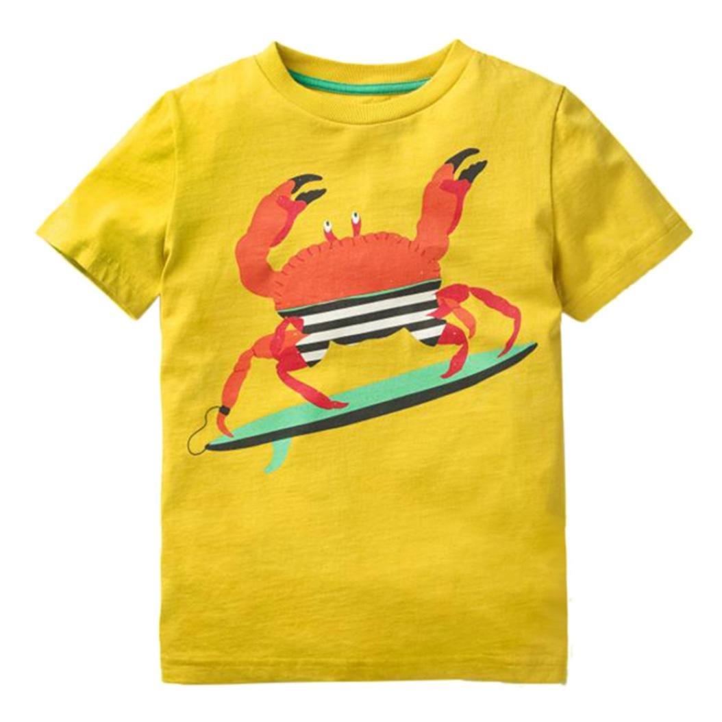 Prevently Kinder Kurzarm Cartoon Krabbe Shark Print T-Shirt Kleinkind Kinder Baby Jungen M/ädchen Kleidung Kurzarm Tops T-Shirt Bluse