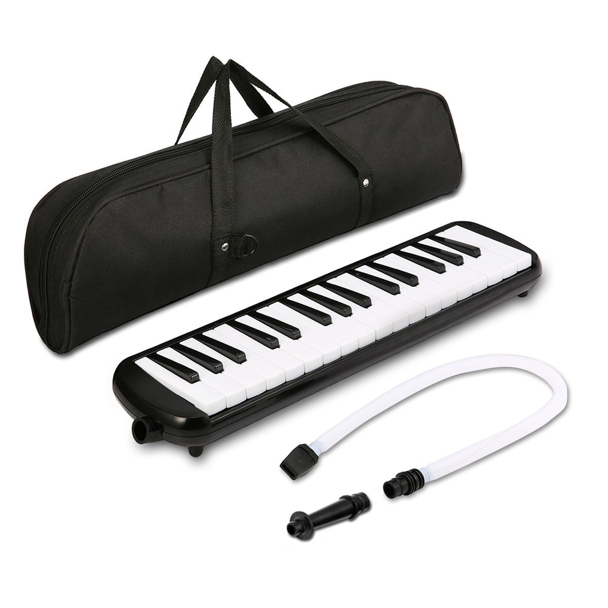 Melodica instrument - NASUM 37 Key Piano Style Melodica,Melodica keyboard Suitable for Teaching and Playing,with Carrying Case (Black) (37)