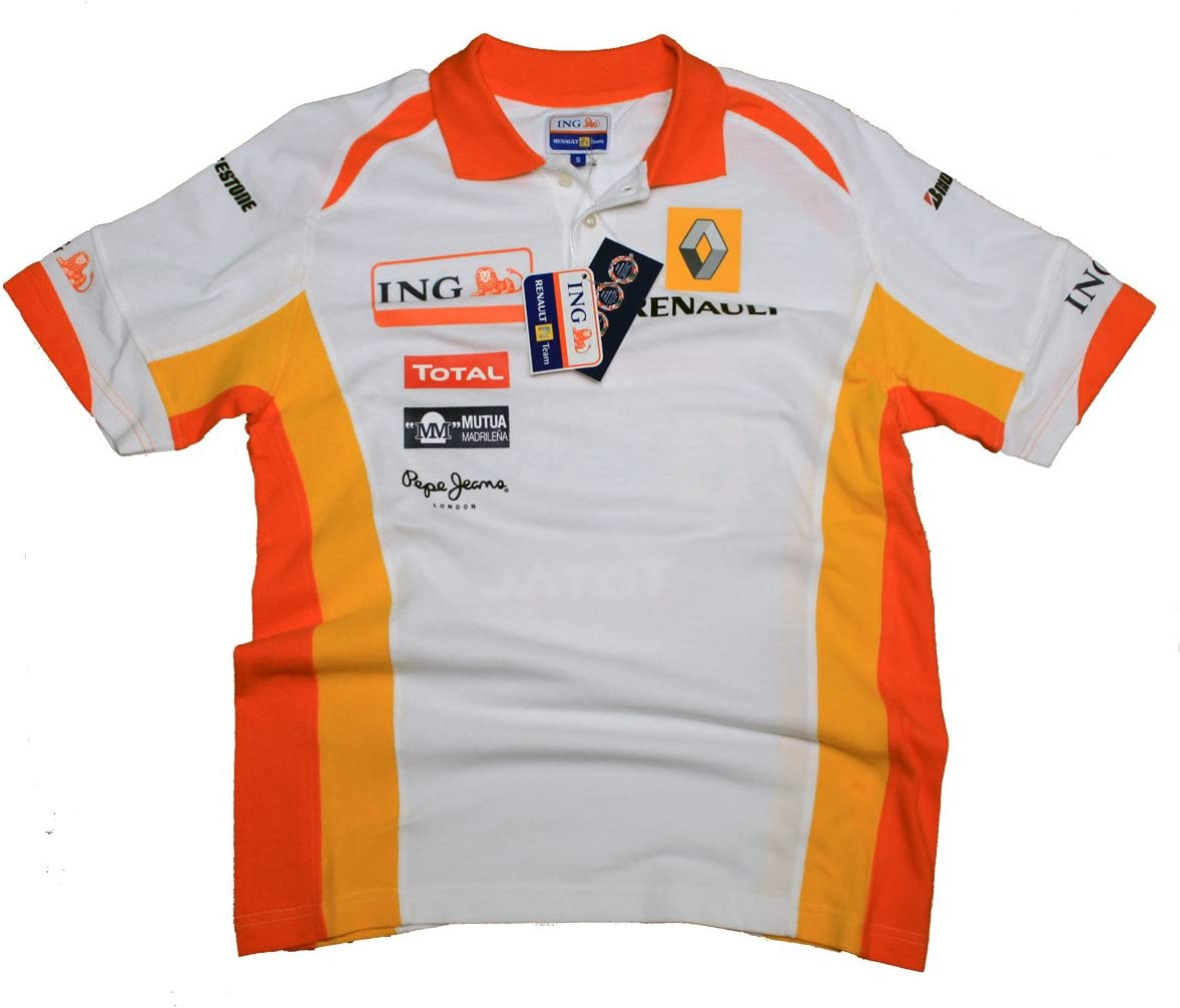 Renault ING F1 equipo para hombre blanco Polo camisa, hombre ...
