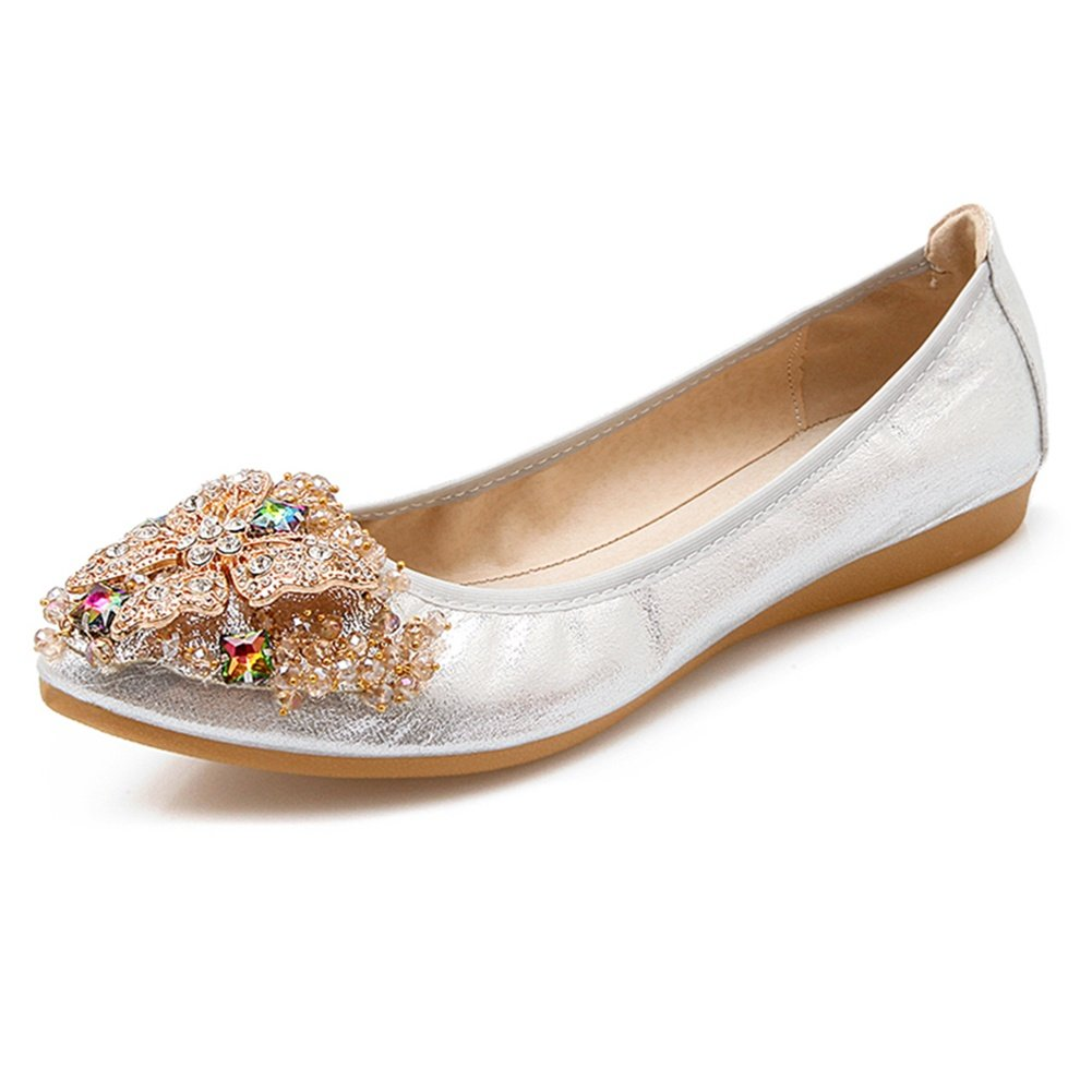 Meeshine Women's Wedding Flats Rhinestone Slip On Foldable Ballet Shoes Silver 8.5 US