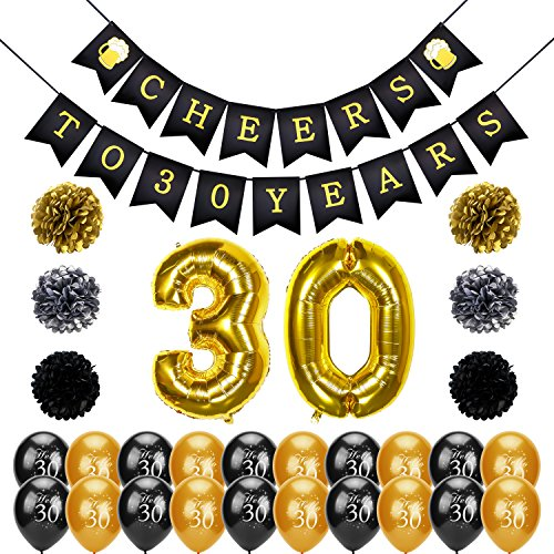 Konsait 30th Birthday Decoration, Cheers to 30 Birthday Banner, Number 30 Foil Balloons Large, Hello 30 Birthday Balloons, Black and Gold, Tissue Paper Pom Poms for 30 Years Old Party -