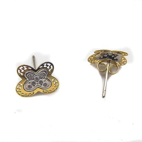 a7e850db72fa Pendientes mujer chica diseño actual de mariposas en Oro Bicolor de 18  kilates y cierre a presión con tornillo. Peso real 0.37 gramos.  Amazon.es   Joyería