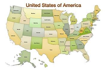 Amazoncom United States of America Map USA Green Tonal Art Print