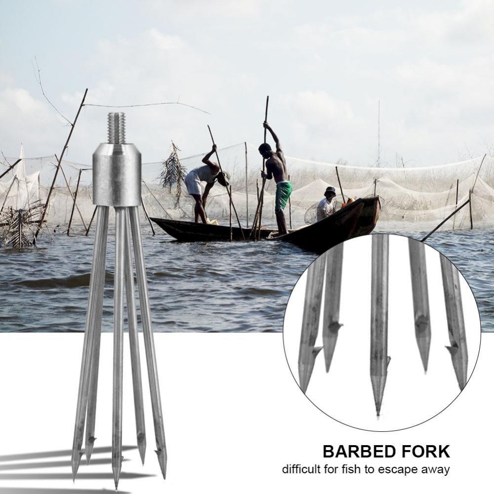 Lanza del Poste de la Lanza de la Lanza de la Pesca del Acero Inoxidable Punta de la Lanza Pesca de la Cabeza de la Pistola de la Lanza de la Pesca Focket Tenedor de la Lanza de la Pesca