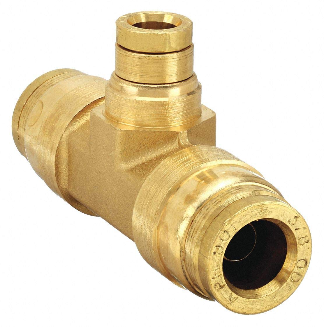 "Parker Hannifin 164PMT-6-6-4 Brass Union Tee Prestomatic Fitting, 3/8"" Push-to-Connect Tube x 1/4"" Push-to-Connect Tube"