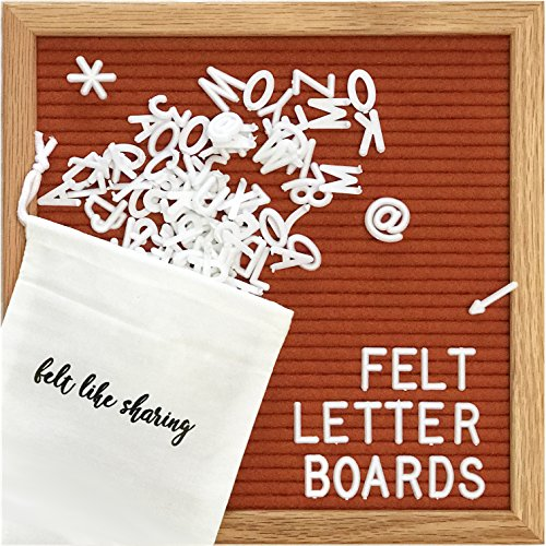 Felt Letter Board, 10x10in Changeable Letter Board with Letters White 300 Piece – Felt Message Board, Oak Frame Wooden…