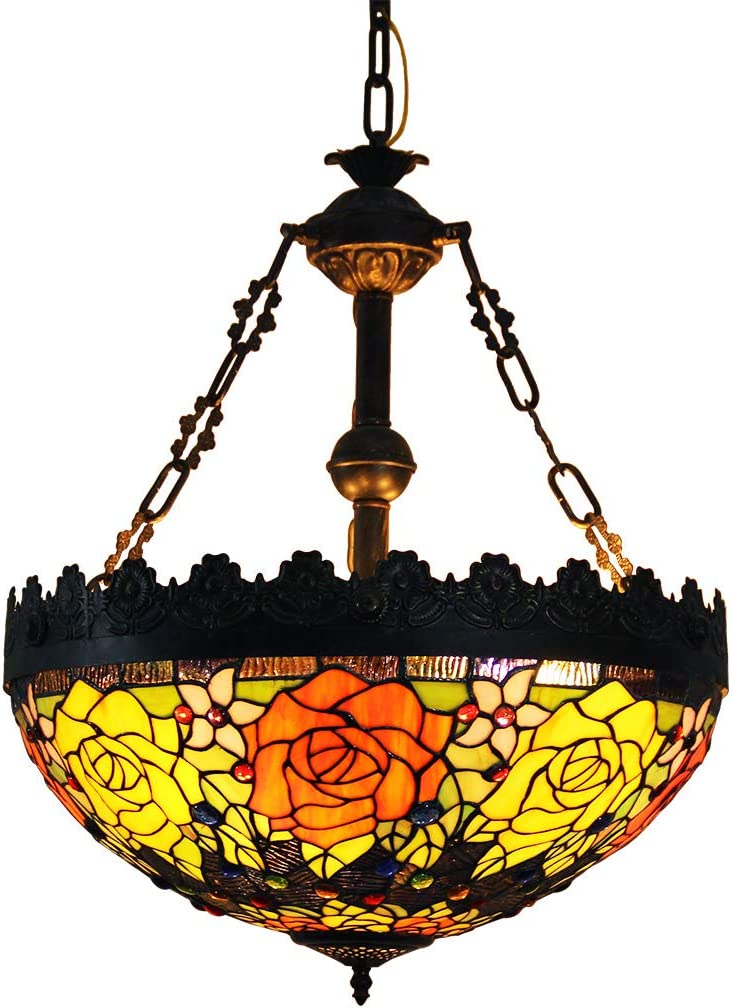 Makenier Vintage Tiffany Style Stained Glass Rose Flower Large Inverted Ceiling Pendant Lamp, 20 Inches Lampshade