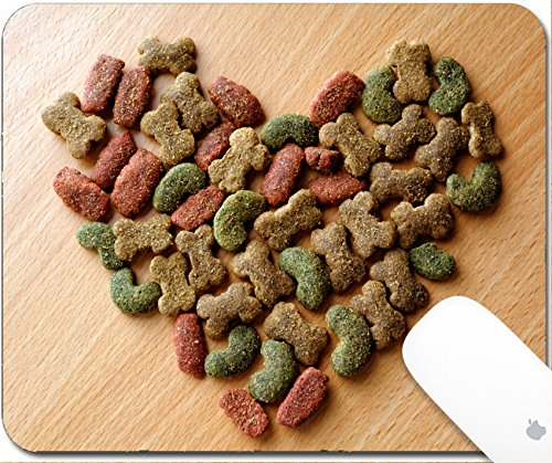 Luxlady Gaming Mousepad 9.25in X 7.25in IMAGE: 34196374 Dry dog food in heart shape on the table