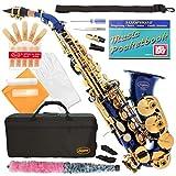 320-BU - BLUE/GOLD Keys Curved Bb Soprano Saxophone Lazarro++11 Reeds,Music Pocketbook,Case,Care Kit - 24 COLORS - SILVER or GOLD KEYS - CHOOSE YOURS !