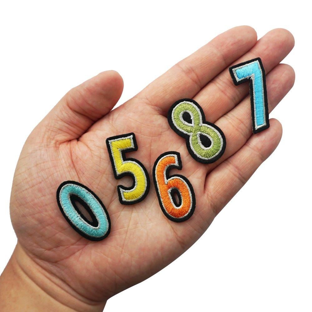 20 unidades 9 para planchar o coser parches de n/úmero 0 Parche bordado para parches de ropa de jard/ín