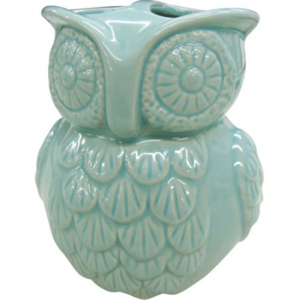 Better Homes and Gardens Owl Bathroom Counter Top Toothbrush Woodland Ceramic Blue Green