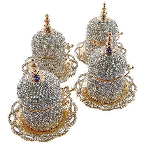 (Set of 4) Handmade Swarovski Crystal Coated Turkish Greek Coffee Espresso Demitasse Cup Saucer Guest Serving Set with Holder and Lid by Grand Gifft (Image #1)