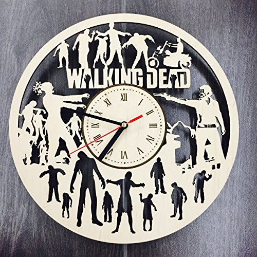 Walking Dead Wall Clock Made of WOOD - Perfect and Beautifully Cut - Decorate your Home with MODERN ART - UNIQUE GIFT for Him and Her - Size 12 Inches (Unique Delivery Gifts For Her)