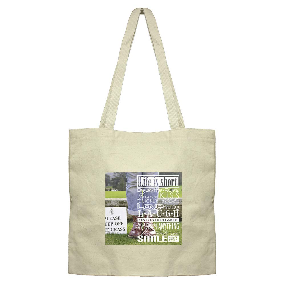 A Man Wearing Jeans and Boots in the Park Cotton Canvas Flat Market Tote Bag
