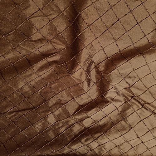 Diamond Pintuck Dupioni Shantung with Embroidery 100% Silk Fabric, By The Yard (Dark Brown)