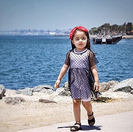 Annvivi Baby Girls Yarns Tutu Tulle Dress Princess Dot Overall Short Sleeve One-Piece Dresses