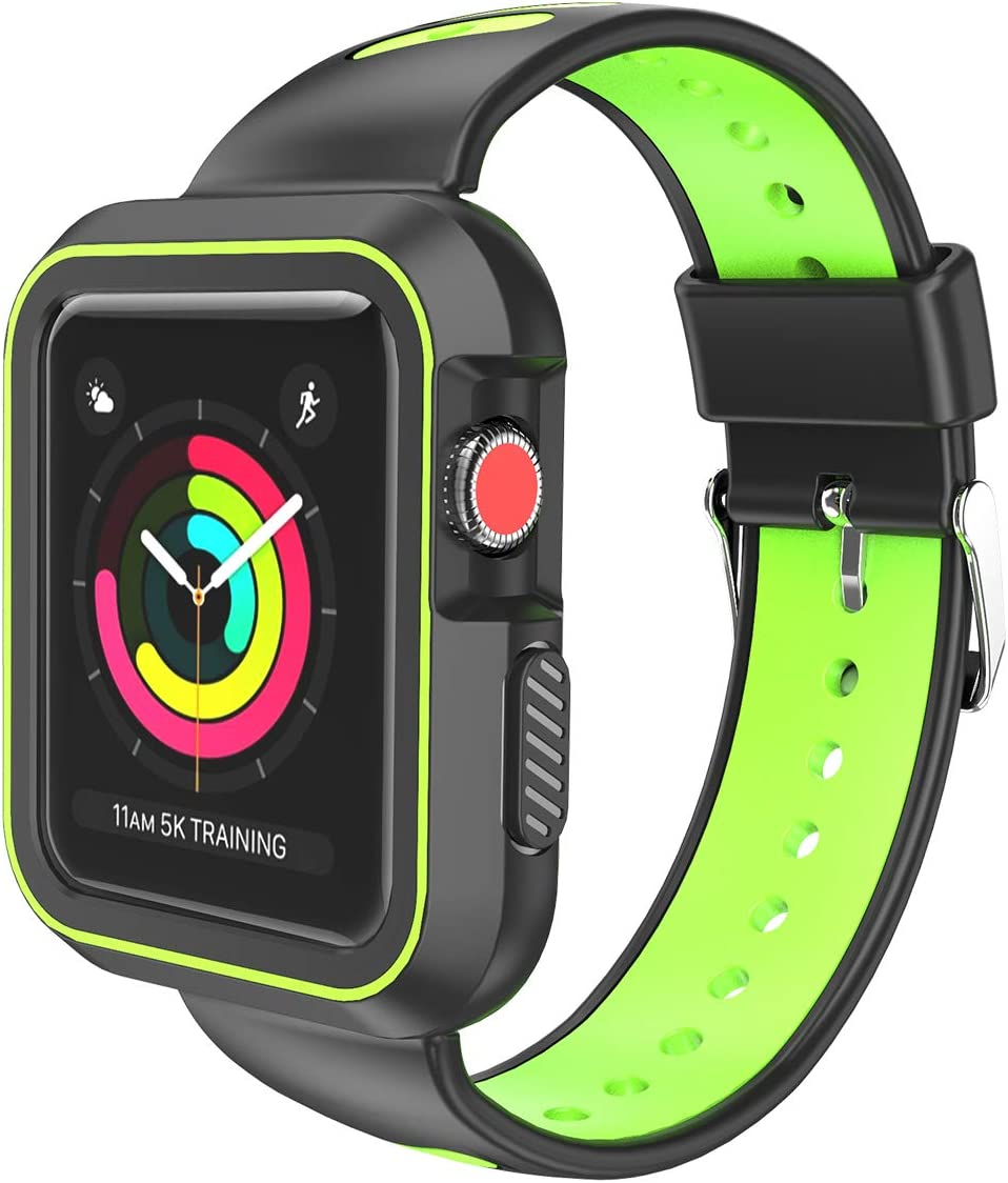SumacLife APLWAT003 Luxury Two Tone Easy Install Sports Wrist Rugged Band Casing for Apple Watch Series 3 2017 Edition [38mm] (Compatible with Series 2 and Series 1) - Techno Green
