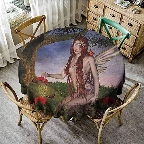 (Round Tablecloth Machine Washable 35