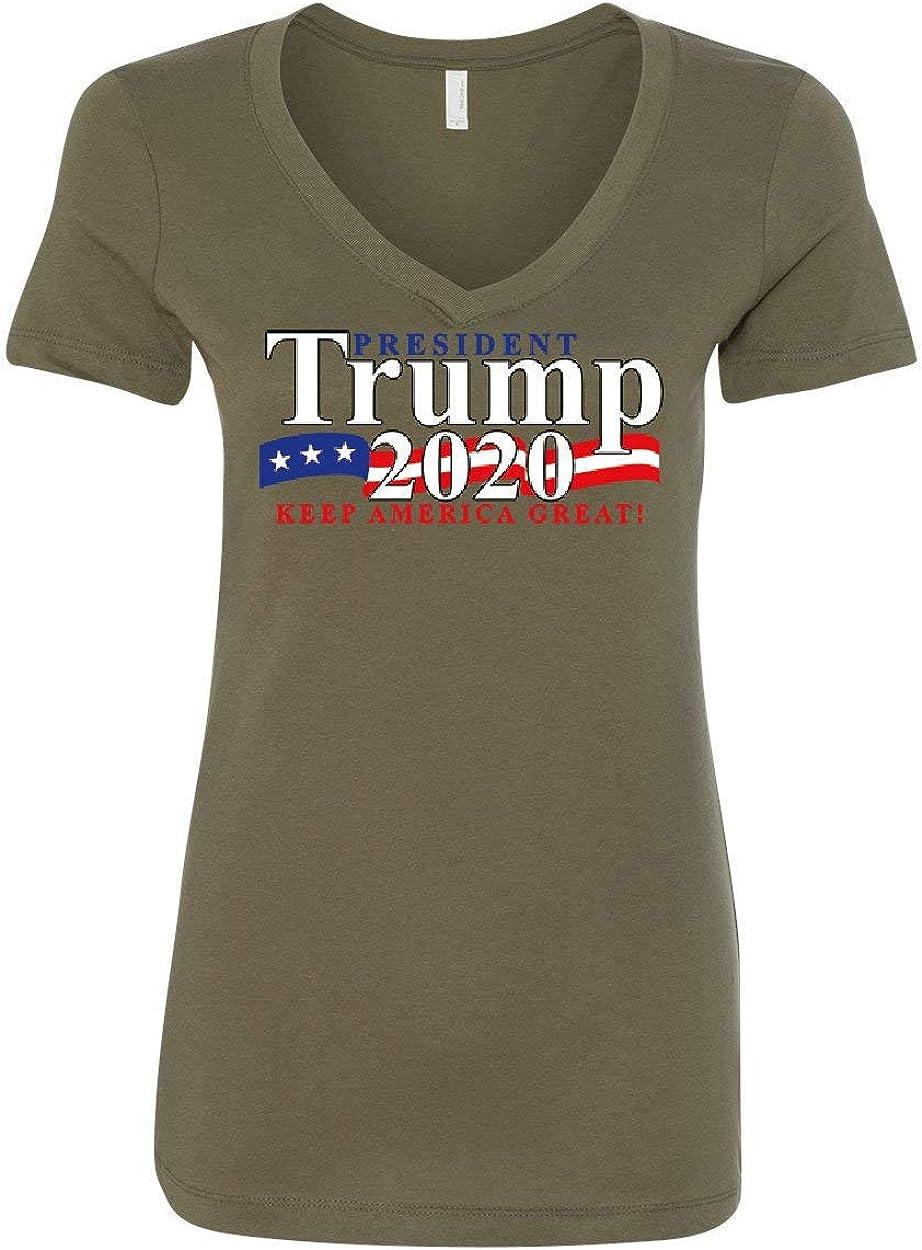 President Trump Womens V-Neck T-Shirt 2020 Keep America Great The Donald MAGA