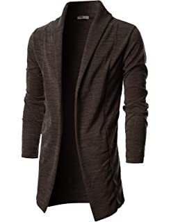 YUNY Womens Wool Thicken Longline with Belt Shawl Collar Outwear Jacket 2 M
