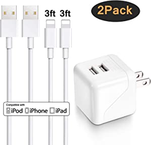iPhone Wall Charger, Sundix Dual Port Wall Charger Power Adapter with 2 Pack 3FT iPhone Charger Charging Cord Compatible with iPhone X 8 8Plus 7 7Plus SE 6sPlus 6s 6 5s, iPad and More (white)