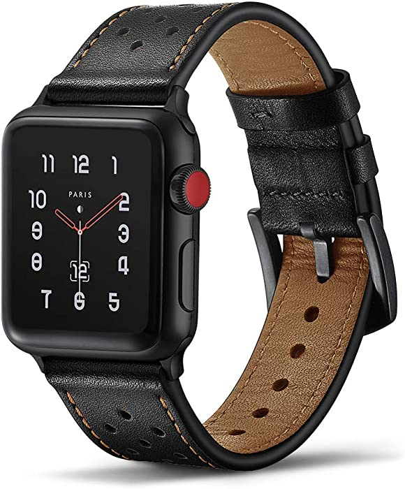 Tasikar Leather Band Compatible with Apple Watch Band 42mm 44mm Genuine Leather Replacement Band Compatible with Apple Watch Series 6 Series 5 /4 Series 3/2/1, SE (Black)