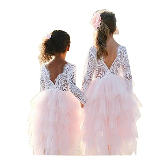 cb88e7269060 Amazon.com  Toddler Baby Girl Tutu Lace Party Dress Flower Girl ...