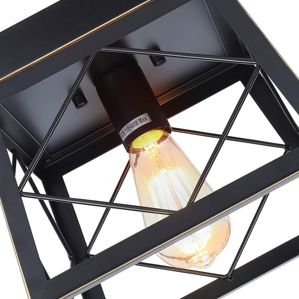 HMVPL Close to Ceiling Light,Farmhouse Flush Mount Industrial Pendant Lighting Fixtures Mini Ceiling Lamp for Kitchen Island Dining Room Bedroom Foyer Hallway 1-Light