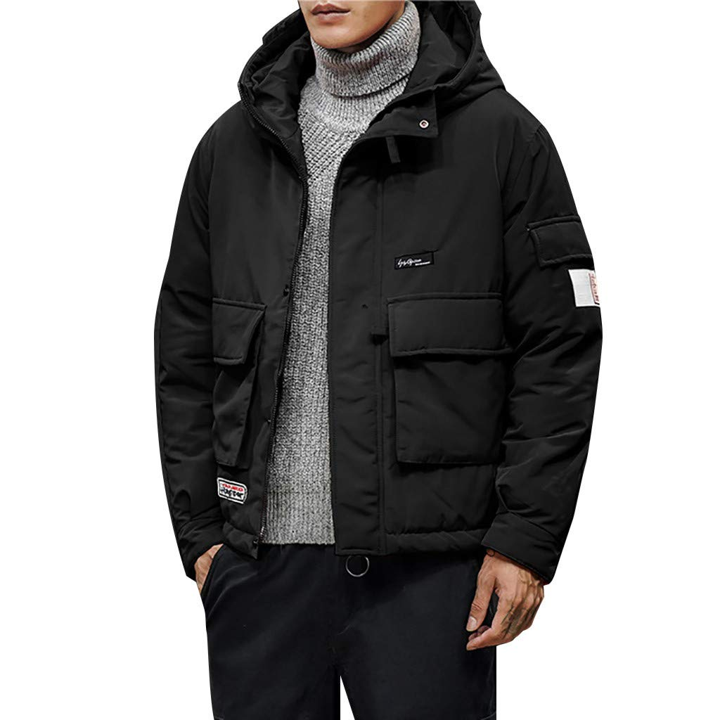 Botrong Fashion Men's Winter Casual Hooded Warm Cotton Clothing Coat (Black,M) by Botrong