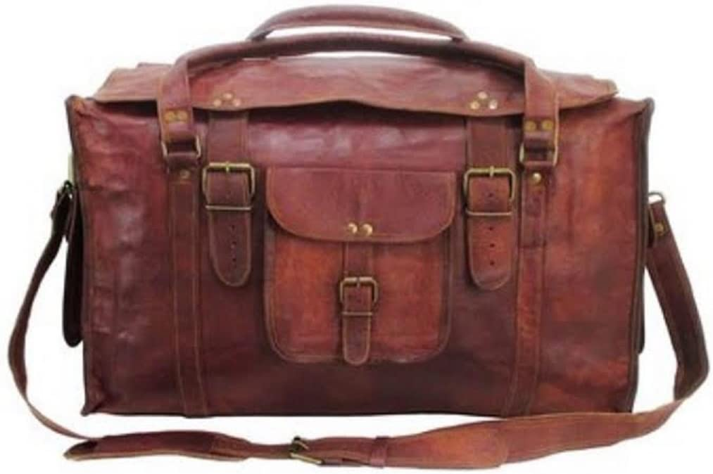 HLC 21 Mens Retro Style Carry on Luggage Flap Duffel Leather Duffel Bag