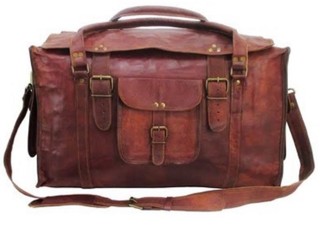 HLC 21'' Mens Retro Style Carry on Luggage Flap Duffel Leather Duffel Bag