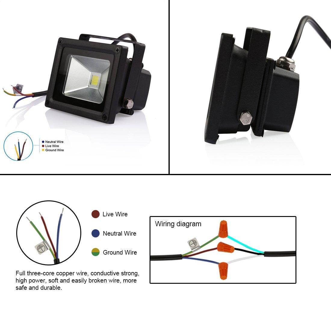 61PtILjslEL._SL1100_ ledmo 10w outdoor led waterproof ip65 800lm 3000k flood lights Basic Electrical Wiring Diagrams at beritabola.co