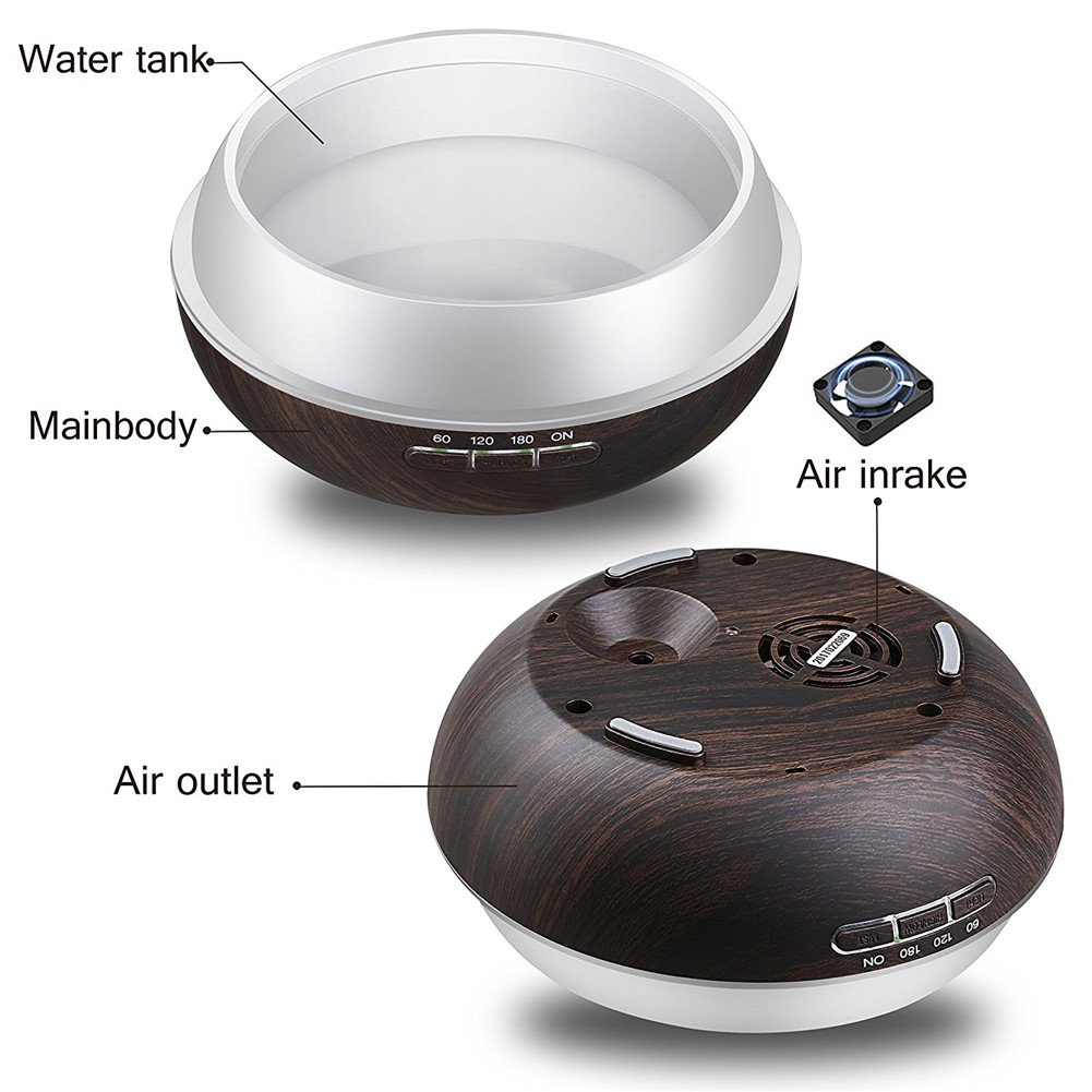 TRADE Help You Keep Air Moist Big Capacity 300ML Rotund Black Wood Grain Colorful Changing Adjustable Mist Mode and 4 Timer Settings Ultrasonic Atomization Scented Oil Diffuse Humidifier by TRADE® (Image #3)