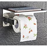Self Adhesive SUS 304 Stainless Steel Toilet Paper Holder Storage Bathroom Kitchen Paper Towel Dispenser Stick On Sticky Tissue Roll Hanger Wall Mount Contemporary Style