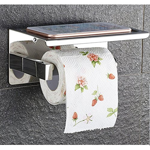 Self Adhesive SUS 304 Stainless Steel Toilet Paper Holder Storage Bathroom Kitchen Paper Towel Dispenser Stick On Sticky Tissue Roll Hanger Wall Mount Contemporary Style by Generic