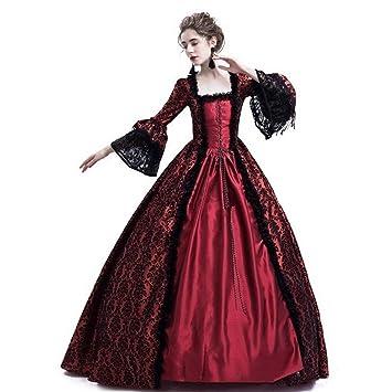 8c6d0870348 Fanessy Déguisement Femme Halloween Médiévale Robe de Princesse en Lace à  Manches Longues Noir Rouge Violet