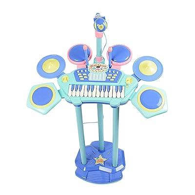FLYSXP Instrumento de golpeo y micrófono Tambor de Jazz para niños, Tambor electrónico, Principiante, Teclado y micrófono. Piano para niños Piano (Color : Blue): Hogar