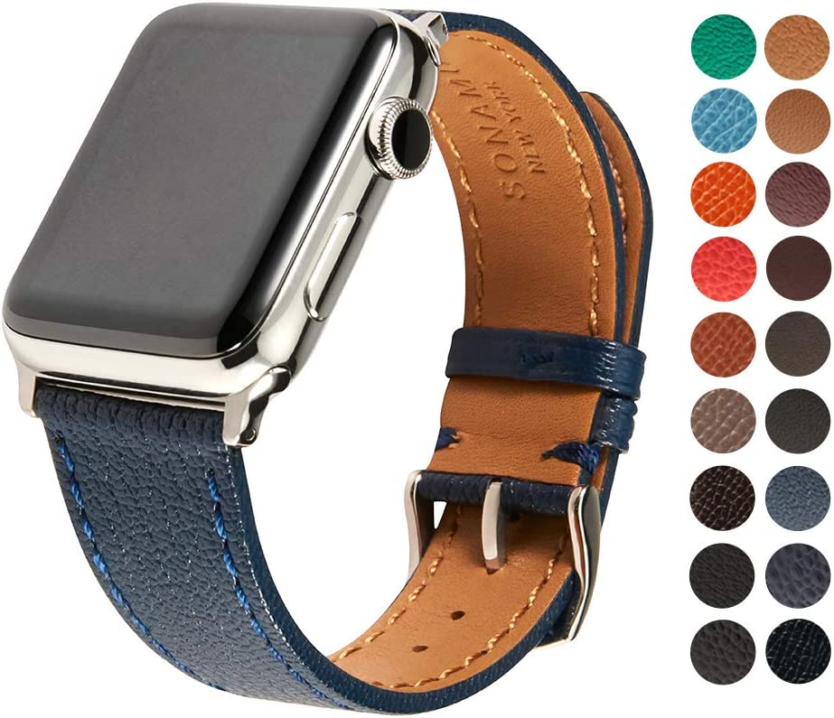 SONAMU New York French Bijou Premium Leather Strap Compatible with Apple Watch Band 38mm, Stainless Steel Clasp, Navy