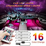 Car LED Strip Light, Wsiiroon Newest Style RF Remote Control Car Interior Lights, Upgraded 16 Fixed Colors, Longer Control Distance, Unique Breathing Function, Sound Active Function(DC 12V)