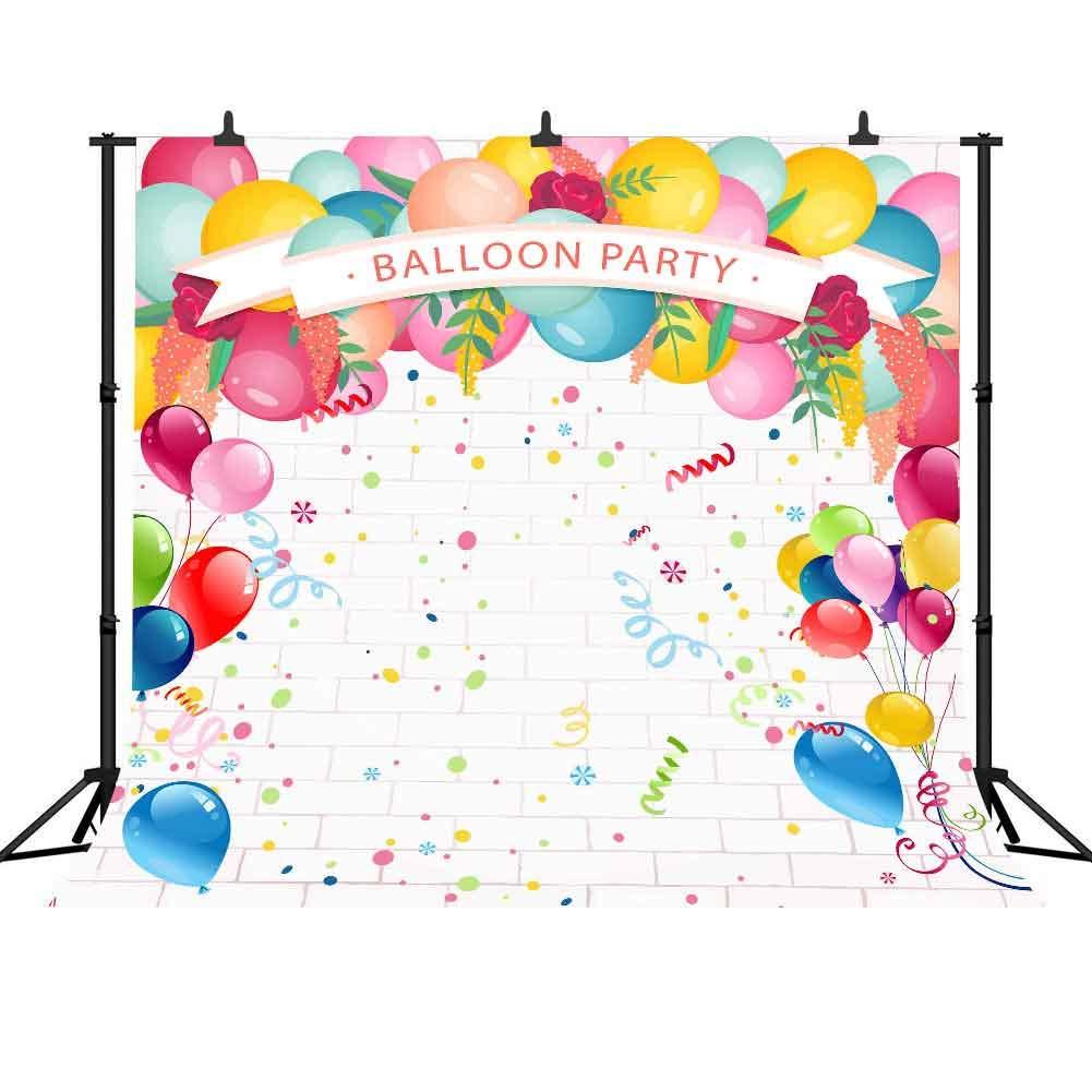 FHZON 10x10フィート バルーンパーティー 写真背景 色付きリボン 誕生日 結婚式 テーマ パーティー 背景幕 写真ブース ビデオ スタジオ撮影用小道具 LXFH298   B07G73M77Y