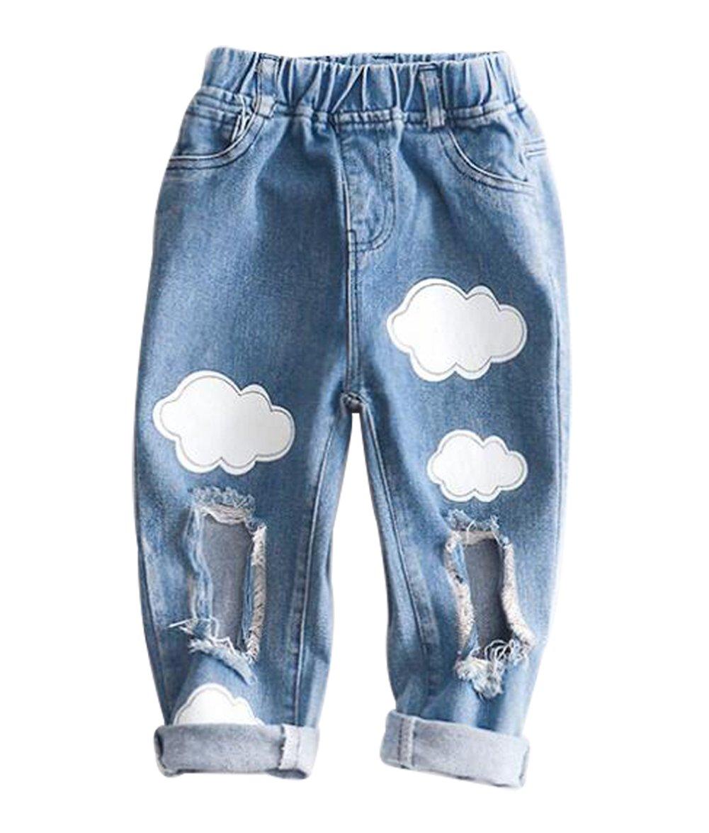 Baby Boys Girls Fashion Cartoon Cloud Pattern Jeans Broken Hole Denim Pants Size 3-4Years/Tag7 (Blue)