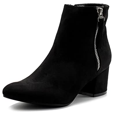 Women's Shoes Faux Suede Chunky Heel Zip Up Ankle Boots TWB01016
