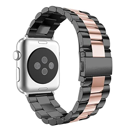 Correa para Apple Watch 42mm Acero Inoxidable, Correa Apple Watch Series 4 44mm Aottom Banda para iWatch Reemplazo de Reloj Pulseras de repuesto de ...