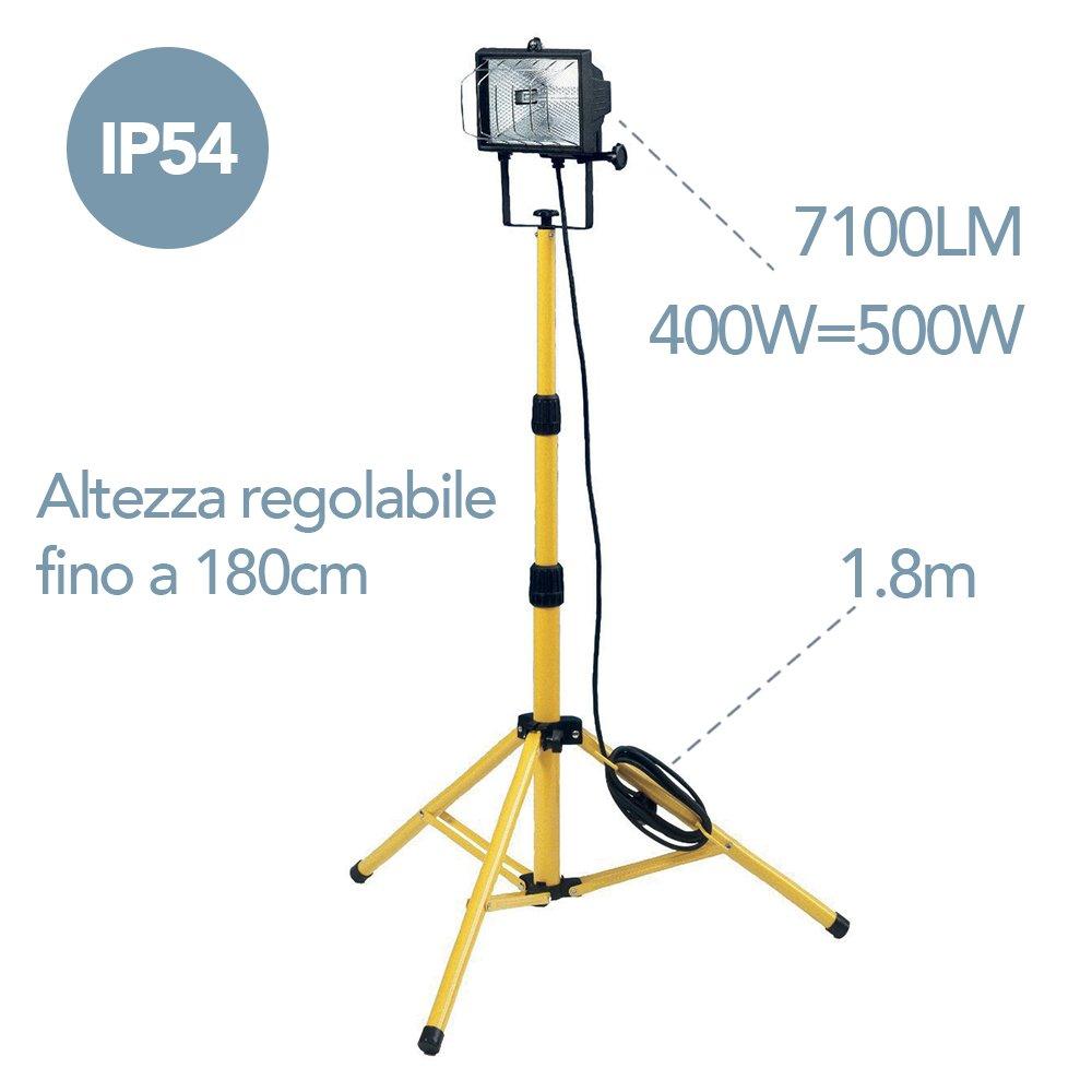 Electraline 92304 Proyector Foco Halógeno en trípode, nivel de protección IP54, lámpara 400=500 W, longitud cable 1,8 mt + alargador 5 mt: Amazon.es: ...