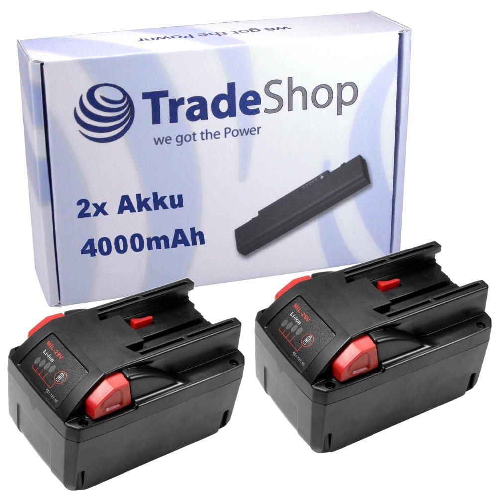 2x TradeShop Hochleistungs Li-Ion Akku 28V 4000mAh für AEG Milwaukee HD28AG HD28AG125 HD28CS HD28H HD28HX HD28IW HD28JSB HD28MS HD28PD HD28SG HD28SX HD28VC0 M28WL